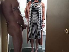 Cfnm dickflashing mature bbw landlady for the first time