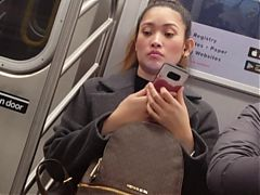 Cute asian on the train