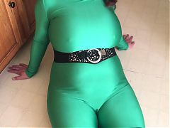Spandex Angel - Sexy green catsuit tease