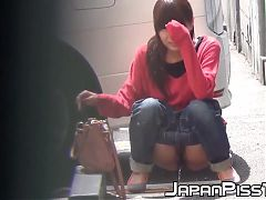 Japanese cuties flash hairy pussies during public peeing