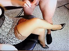 cum on nice pantyhose from milf