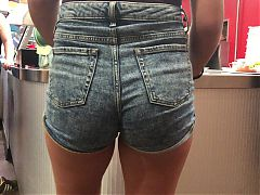 Buxom Teen Candid Jean Shorts