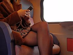 Voyeur pantyhose legs on train