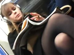 Beautiful woman crossed legs in subway
