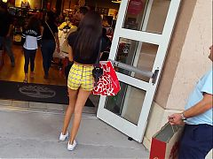 Candid voyeur hot tall teen legs shopping with dad