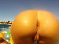 Blonde Shows ass and pussy