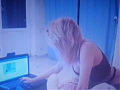 Young girl is on webcam